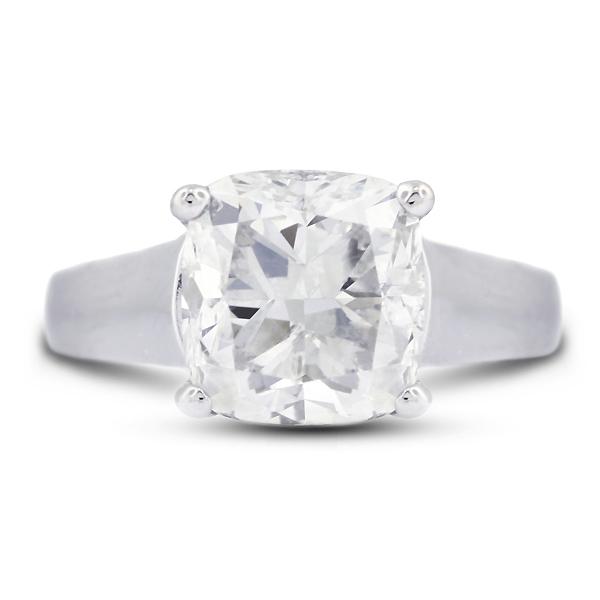 Diamond Traces 4.01 Carat Excellent Cut Cushion I-VS2 Diamond Platinum Trellis Solitaire Engagement Ring 8.38gm at Sears.com