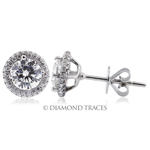 Diamond Traces 2.40 Carat Total F-SI1 Ideal AGI Certificate Round Natural Diamond 18K White Gold Halo Earrings at Sears.com