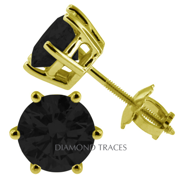 Diamond Traces 1.85 Carat Total Black Ideal AGI Certificate Round Natural Diamond 14K Yellow Gold Classic Style Stud Earrings at Sears.com