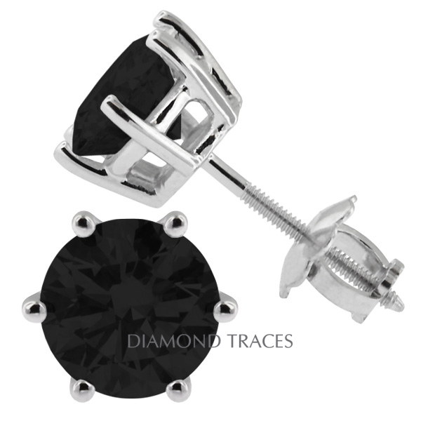Diamond Traces 1.43 Carat Total Black Ideal AGI Certificate Round Natural Diamond 14K White Gold Classic Style Stud Earrings