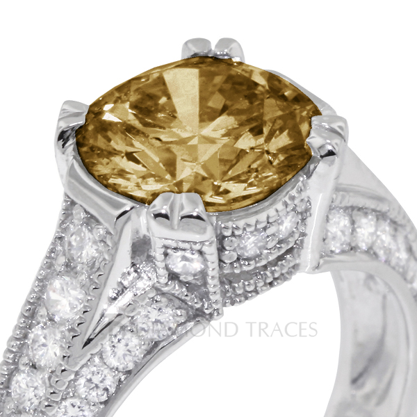 Diamond Traces 2.35 Carat Total Brown-VS2 Excellent AGI Cert Round Natural Diamond 14K White Gold Vintage Engagement Ring with Milgrain at Sears.com