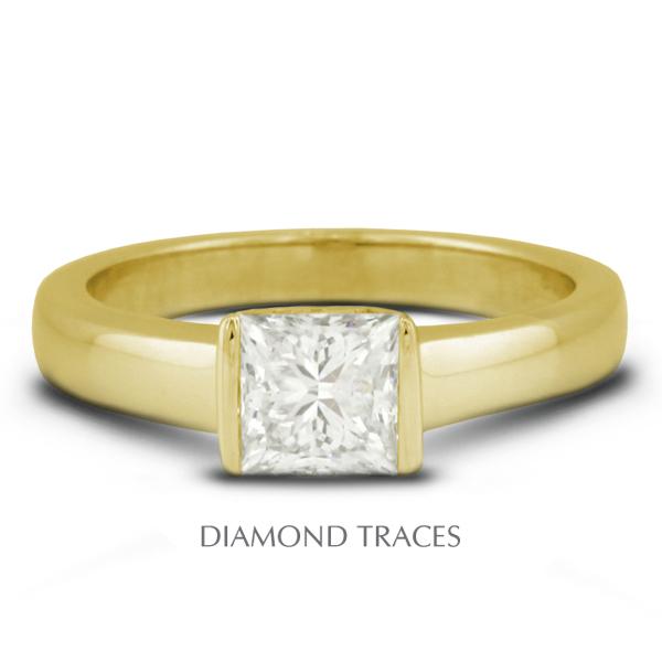 Diamond Traces 2.11 Carat Total E-SI2 Very Good AGI Cert Princess Natural Diamond 18K Yellow Gold Tension Solitaire Ring at Sears.com