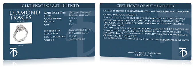 Exemple of Diamond Traces Certificate of Authenticity