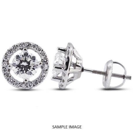 1.18 Carat tw. Round Brilliant 14k White Gold Halo Diamond Stud Earrings (G-VS2)