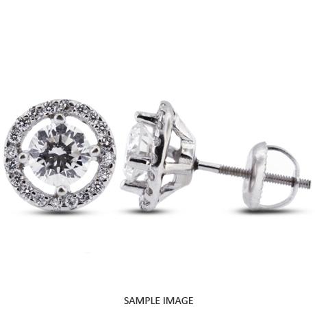 1.30 Carat tw. Round Brilliant 14k White Gold Halo Diamond Stud Earrings (D-SI1)