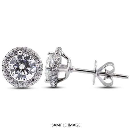 1.69 Carat tw. Round Brilliant 18k White Gold Halo Diamond Stud Earrings (E-VS2)