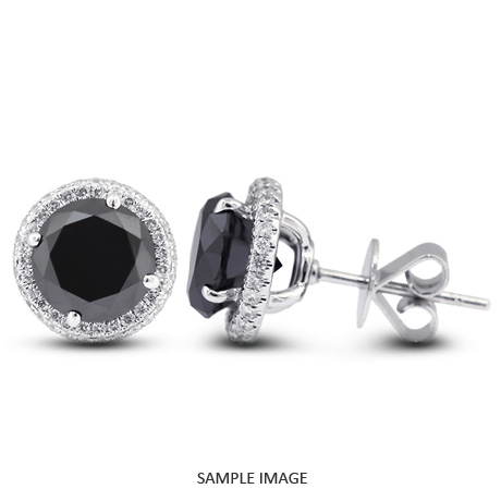 1.84 Carat tw. Round Brilliant 18k White Gold Halo Diamond Stud Earrings (Black-)