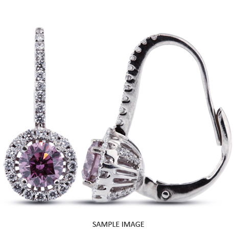 1.51 Carat tw. Round Brilliant 18k White Gold Drop Diamond Earrings with Halo (Purple-VS1)