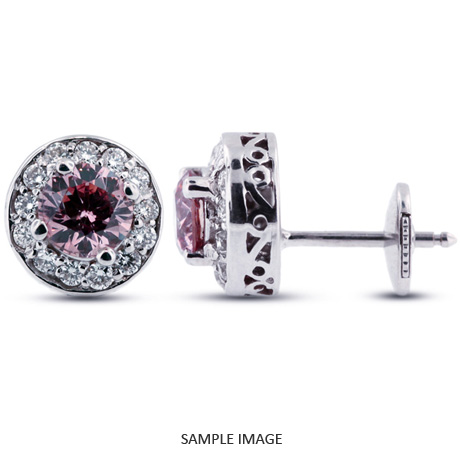 1.46 Carat tw. Round Brilliant 14k White Gold Vintage style Halo Diamond Stud Earrings (Pink-VS2)