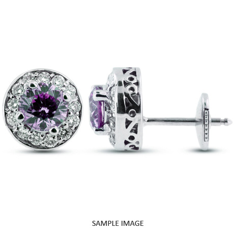 1.30 Carat tw. Round Brilliant 14k White Gold Vintage style Halo Diamond Stud Earrings (Purple-VS1)