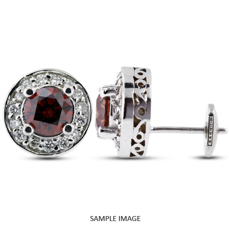 1.42 Carat tw. Round Brilliant 14k White Gold Vintage style Halo Diamond Stud Earrings (Red-VS2)