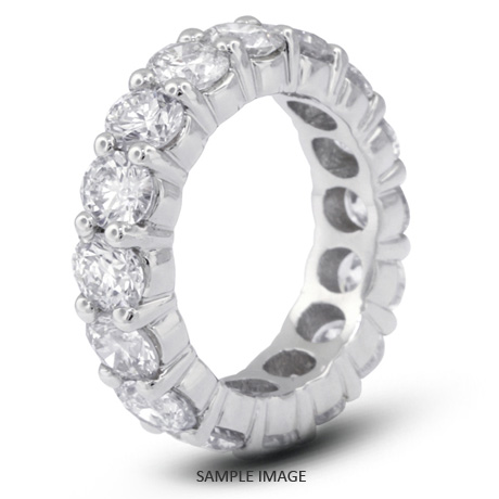 14k White Gold Classic Style Eternity Ring with 3.75 Total Carat F-VS2 Round Diamond