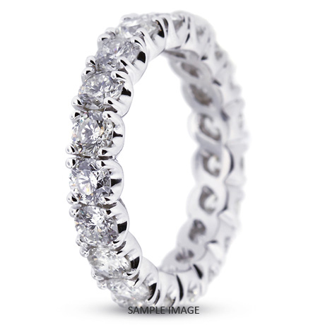 14k White Gold Classic Style Eternity Ring with 4.20 Total Carat F-VS2 Round Diamond