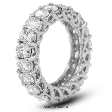 14k White Gold Trellis Style Eternity Ring with 4.25 Total Carat H-SI2 Round Diamond