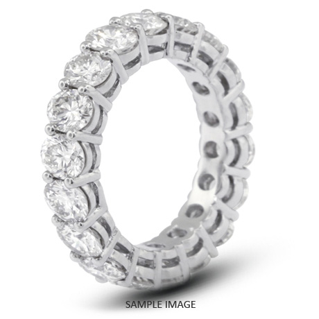 14k White Gold Basket Style Eternity Ring with 4.80 Total Carat G-SI1 Round Diamond
