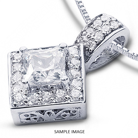 14k white gold gallery design with halo pendant 186 carat total g 14k white gold gallery design with halo pendant 186 carat total g si1 princess cut aloadofball Images
