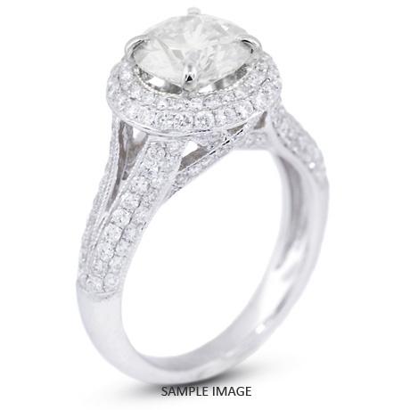 18k White Gold Split Shank Engagement Ring with 3.59 Total Carat H-SI1 Round Diamond