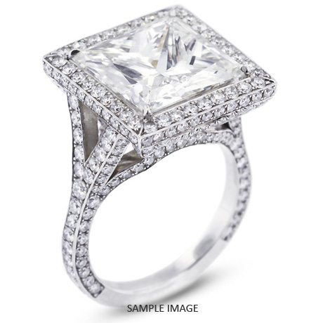 Platinum  Vintage Style Semi-Mount Engagement Ring with Halo with Diamonds (4.23ct. tw.)