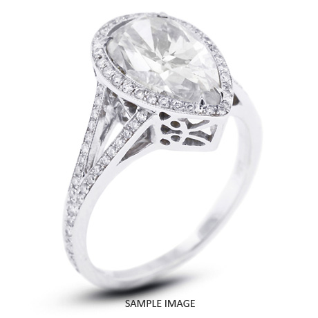 18k White Gold Vintage Style Semi-Mount Engagement Ring with Halo with Diamonds (0.85ct. tw.)