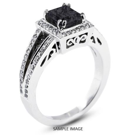 18k White Gold Vintage Style Engagement Ring With Halo 154 Total Carat Black Princess Diamond