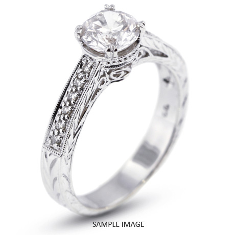 14k White Gold Semi-Mount Engagement Ring with Milgrains with Diamonds (0.26ct. tw.)