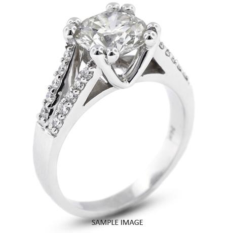 14k White Gold Split Shank Engagement Ring with 1.00 Total Carat I-I1 Round Diamond