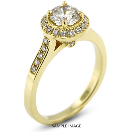 14k Yellow Gold Accents Engagement Ring with 1.08 Total Carat I-I1 Round Diamond
