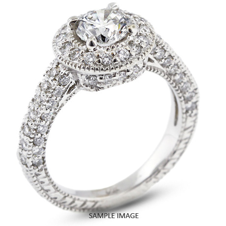 14k White Gold Vintage Style Engagement Ring with Halo with 4.74 Total Carat G-SI3 Round Diamond
