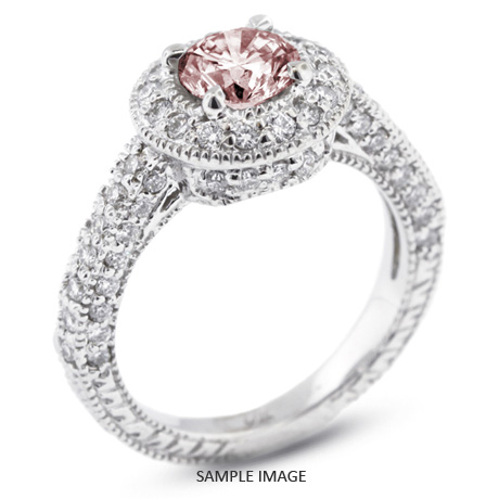 14k white gold vintage style engagement ring with halo with 209 total carat pink i2 - Vintage Style Wedding Rings