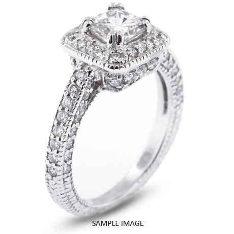 14k White Gold Vintage Style Engagement Ring With Halo 152 Total Carat I VS2