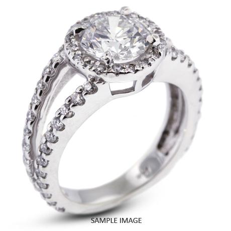 14k White Gold Split Shank Engagement Ring with 3.65 Total Carat F-VS2 Round Diamond