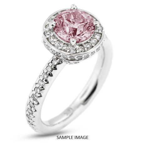 4778f414d 14k White Gold Accents Engagement Ring with 3.03 Total Carat Pink-SI3 Round  Diamond