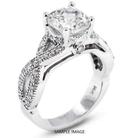 14k White Gold Split Twist Shank Engagement Ring with 276 Total