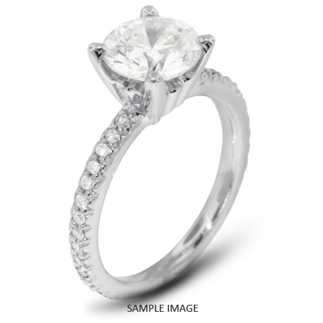 14k White Gold Accents Engagement Ring with 1.01 Total Carat H-SI3 Round Diamond