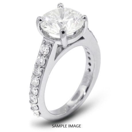 14k White Gold Accents Engagement Ring with 2.50 Total Carat G-SI3 Round Diamond