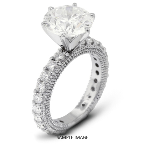 d423c2eec5157 14k White Gold Engagement Ring with Milgrains with 3.20 Total Carat G-VS2  Round Diamond from Diamond Traces