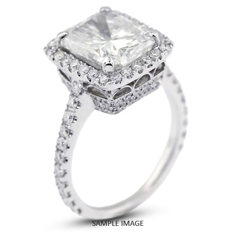 18k White Gold Vintage Style Engagement Ring With Halo With 5 42 Total Carat I Si2 Rectangular Radiant Diamond From Diamond Traces