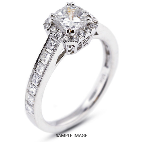 18k White Gold Vintage Style Engagement Ring with Halo with 2.34 Total Carat E-VS2 Square Cushion Diamond