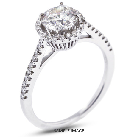 18k White Gold Accents Engagement Ring with 0.93 Total Carat H-SI3 Round Diamond