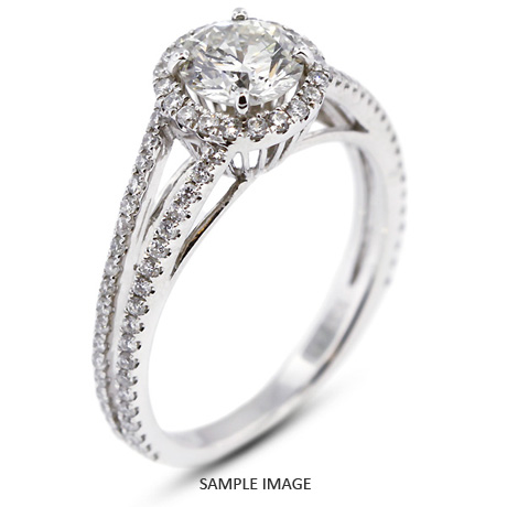 18k White Gold Split Shank Engagement Ring with 1.18 Total Carat H-SI3 Round Diamond