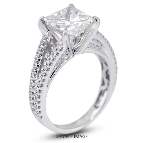 18k White Gold Split Shank Engagement Ring with 403 Total Carat I