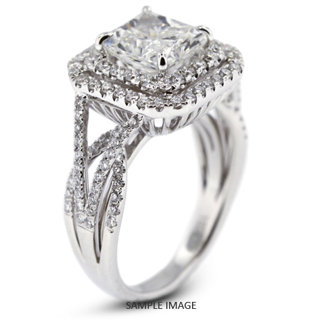 ac08b9e0ddb68 18k White Gold Vintage Style Engagement Ring with Halo with 3.16 Total  Carat E-SI2 Square Radiant Diamond from Diamond Traces