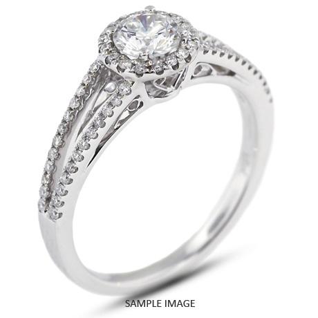 18k White Gold Split Shank Engagement Ring with 0.81 Total Carat I-SI2 Round Diamond