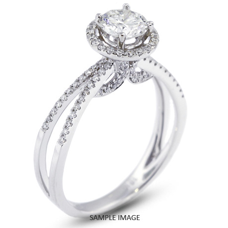 18k White Gold Split Shank Engagement Ring with 0.90 Total Carat E-SI3 Round Diamond