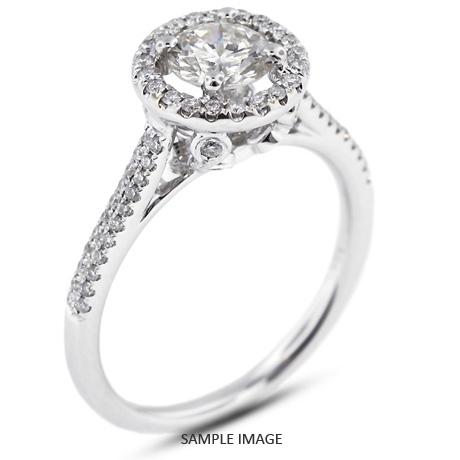 18k White Gold Two-Diamonds Row Engagement Ring with 1.06 Total Carat I-I1 Round Diamond