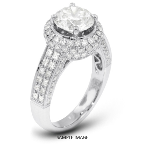 18k White Gold Engagement Ring with Milgrains with 4.97 Total Carat F-SI2 Round Diamond