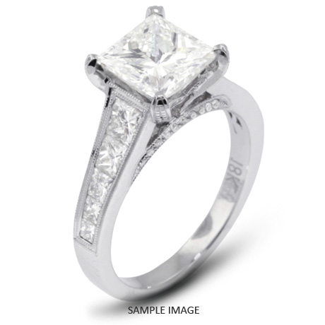18k White Gold Engagement Ring with Milgrains with 287 Total Carat