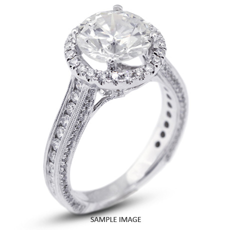 18k White Gold Engagement Ring with Milgrains with 3.57 Total Carat J-SI2 Round Diamond