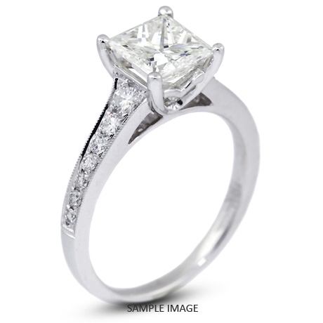 k pid carat ring diamond gold with square white princess engagement milgrains radiant jewellery sidestone total rings