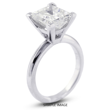 Platinum Cathedral Style Solitaire Ring With 2 47 Carat D Si1 Square Radiant Diamond